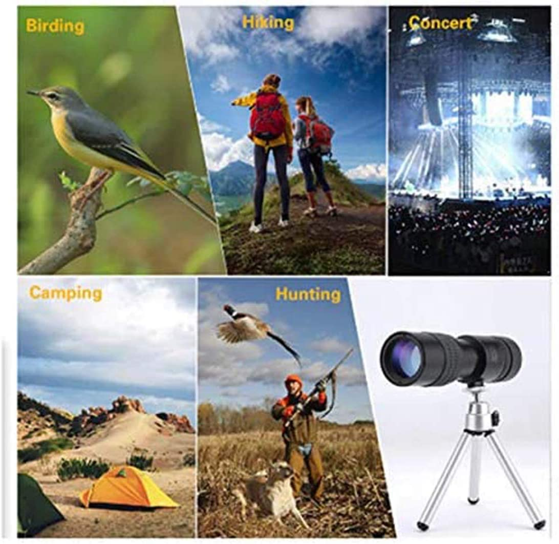 4k 10-300x40mm Super Telephoto Zoom Monocular Telescope for Phone,Super Telephoto Zoom Monocular Durable and Clea Focus for Bird Watching//Hunting//Camping 10-300/×40mm, avec tr/épied et Clip