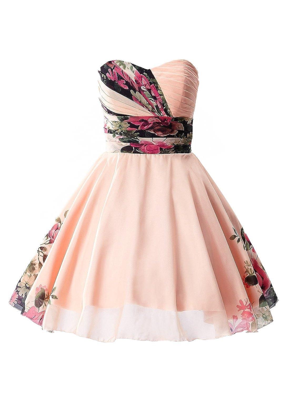 Babyonline® Damen Kurz Trägerlos Brautjunferkleider Abendkleid Ballkleider