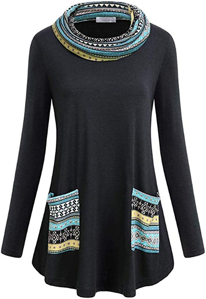 Bsjmlxg Womens Long Sleeve Tunic Tops Cowl Neck Geometrical Print Pullover Color Block Swing Sweatshirts with Pockets