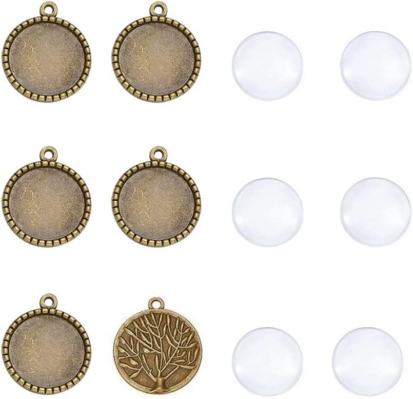 10 Sets Antique Bronze Photo Pendant Blanks Round DIY Setting /& 25mm Glass Cover