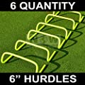 "Net World Sports 6"" SPEED HURDLES [Set of 6] - New And Improved Design, Highest Quality"
