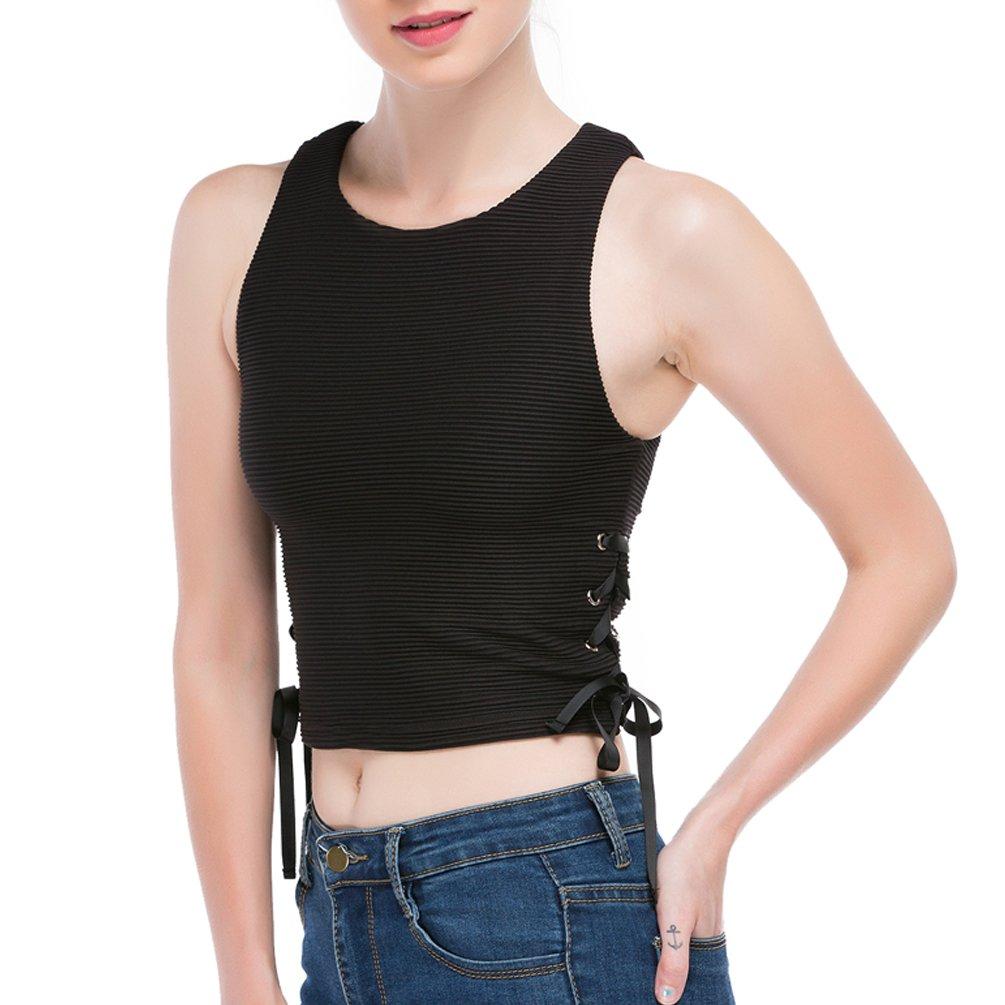 DISBEST Women's Tank Top, Round Neck Sleeveless Drawstring Sides Slim Top Vest
