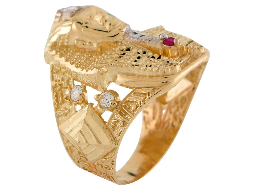 10k Two-Tone Gold Red & White CZ King Tut Egyptian Pharaoh Mens Wide Band Ring by Jewelry Liquidation (Image #3)