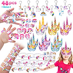 Pawliss 60 Pack Unicorn Party Favors Supplies, Masks, Rings, Bracelets, Keychains, Tattoos, Kids Girls Birthday Novel…
