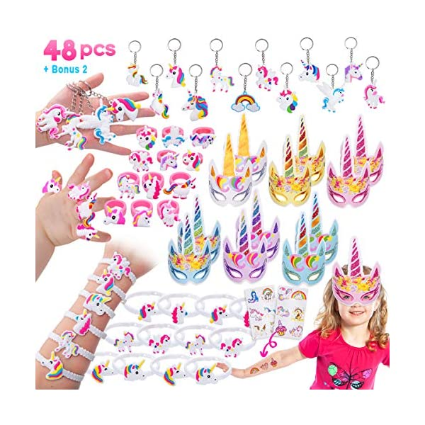 Pawliss 60 Pack Unicorn Party Favors Supplies, Masks, Rings, Bracelets, Keychains, Tattoos, Kids Girls Birthday Novel… 3