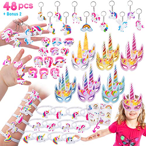 Pawliss 48 Pack Unicorn Party Favors Supplies, Masks, Rings, Bracelets, Keychains, Tattoos, Kids Girls Birthday Novel Rainbow Gifts Toys, for 12 Guests -