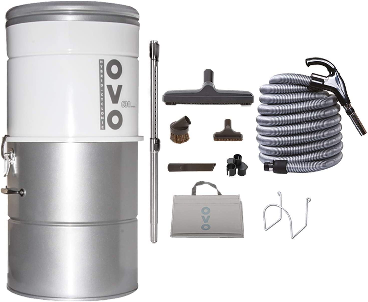 OVO PAK63D-40 Large and Powerful Central Vacuum System, Hybrid Filtration (with or Without Disposable Bags), 25L or 6.6 Gal, 630 Air watts with 40 ft Deluxe Accessory Kit Included, 40ft, Sliver