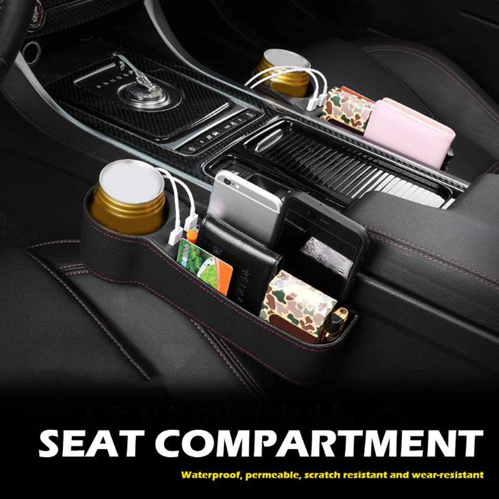 Black 1Pcs Car Seat Gap Storage Box Cup Holder Organizer PU Leather Left// Right