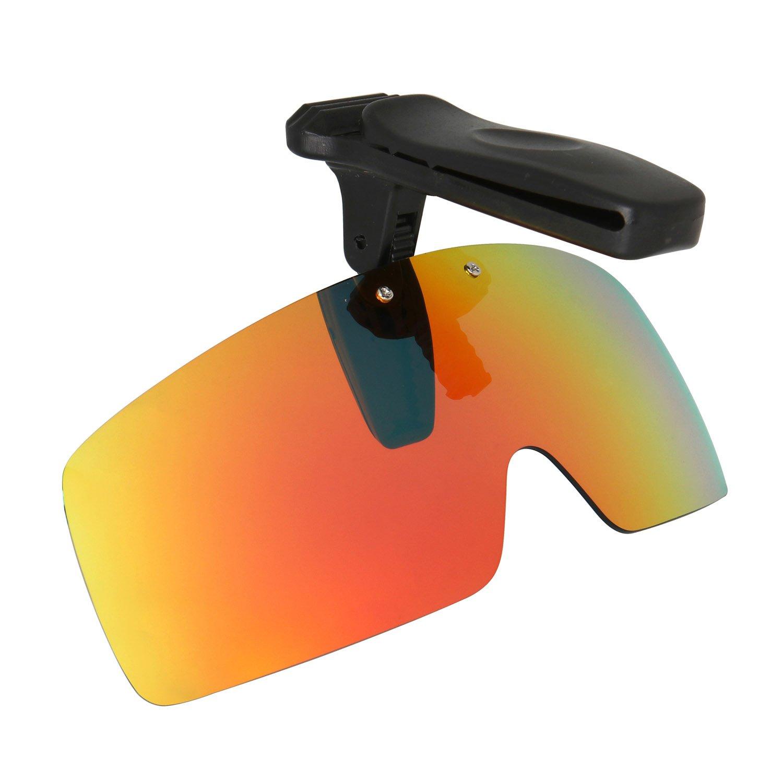 HKUCO Sunglasses Clip Red Polarized Lenses Hat Visors Clip-on Sunglasses For Fishing/Biking/Hiking/Golf UV400 Protect