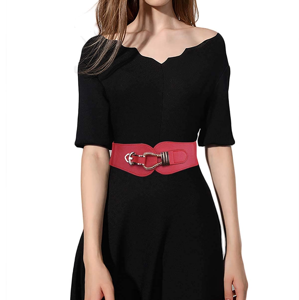 TeeYee Women Girls Elastic Wide Waist Belt with Vintage Hook Buckle