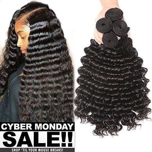 Brazilian Human Hair Deep Wave 4 Bundles 100% Unprocessed Virgin Brazilian Deep Curly Hair Weave Bundles Natural Color Total 400g (20 22 24 26inch) by U Show hair