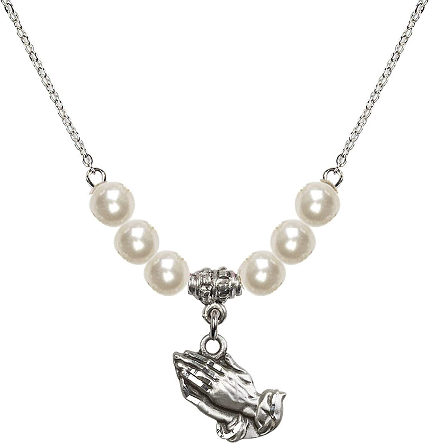 Bonyak Jewelry 18 Inch Rhodium Plated Necklace w// 6mm Faux-Pearl Beads and Praying Hands Charm