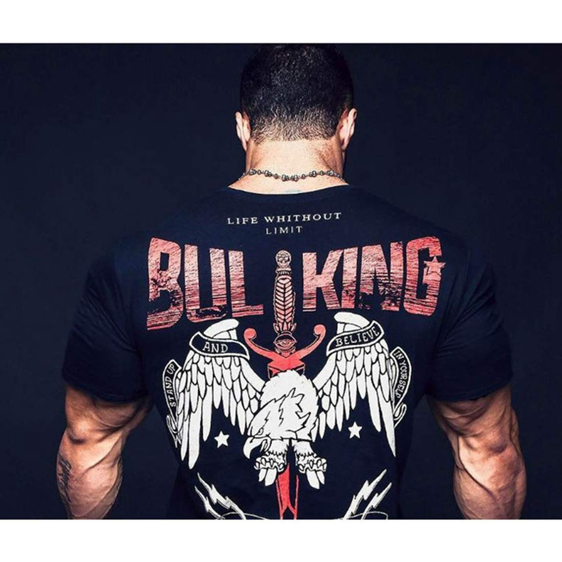 Mens Gym Workout T Shirt Bull Print Short Sleeve Muscle Cut Bodybuilding Training Fitness Tee Tops