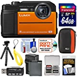 Panasonic Lumix DC-TS7 4K Tough Shock & Waterproof Digital Camera (Orange) 64GB Card + Battery & Charger + Case + Float Strap + Tripod Kit