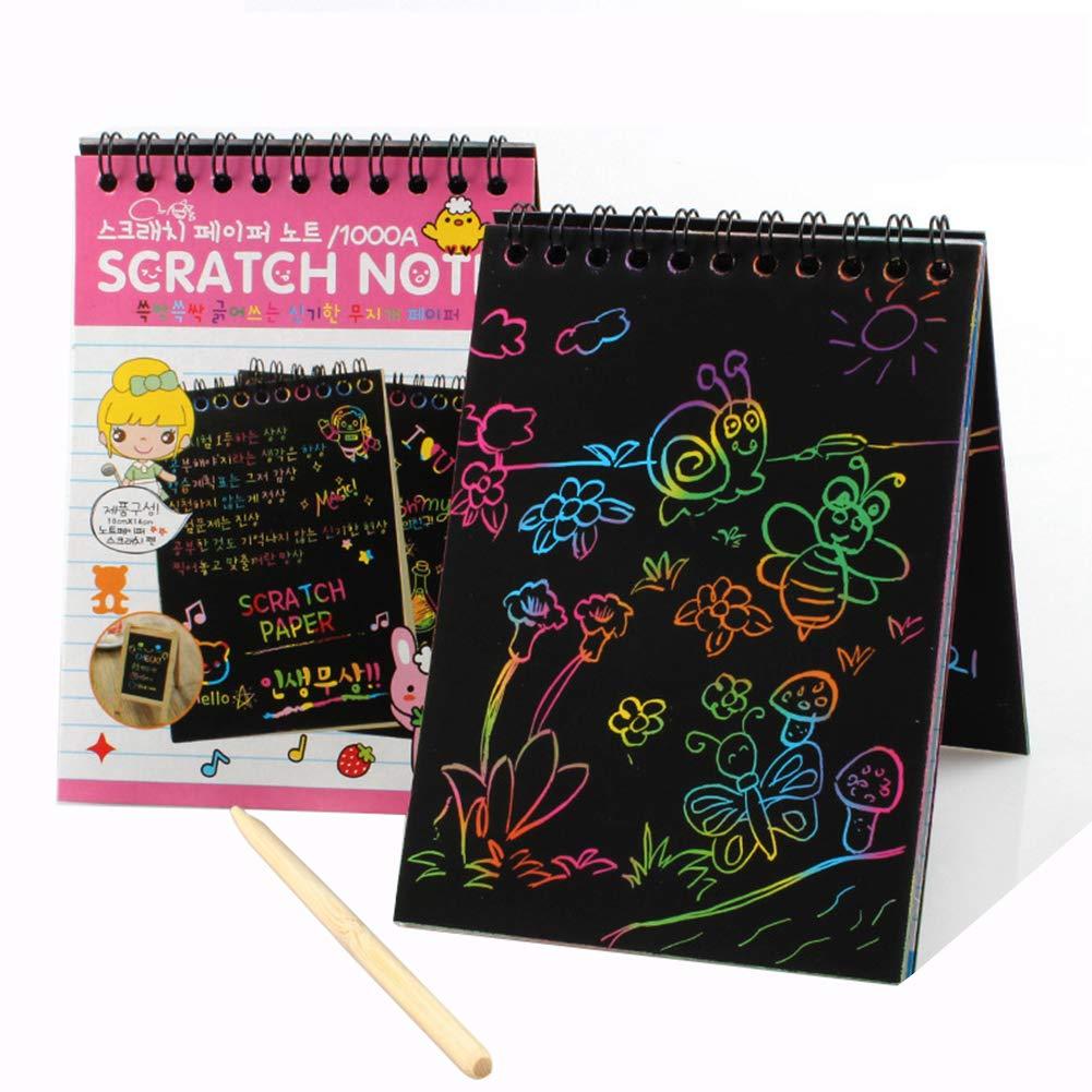 Rainbow Scratch Paper Note mit Holzstift f/ür Kinder Kunst und Bastelprojekte Scratch Off Mini-Notizen 10 x 14 cm