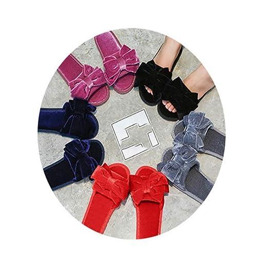 WXMDDN-Zapatillas de Punta Abierta/Zapatillas de algodón para Mujer/Zapatillas de Invierno/Zapatillas de Lazo/Forro de Felpa cómodo,cálido,Antideslizante ...