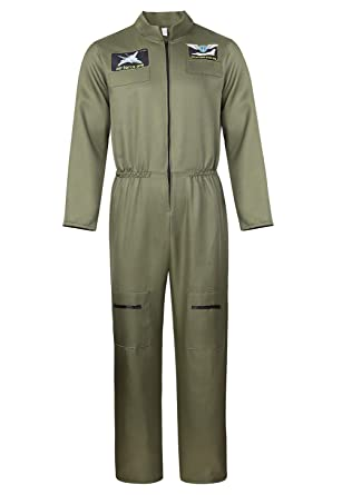 a42a605cdd7 Men s Flight Suit Military Fighter Pilot Jumpsuit Halloween Cosplay Costume  S ArmyGreen