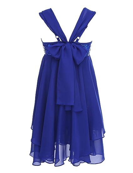 iEFiEL Girls Chiffon Sequins Ballet Dance Gymnastics Dress Kids Lyrical  Dress Irregular Leotard Skirt Blue 2 3892aa48b9ec