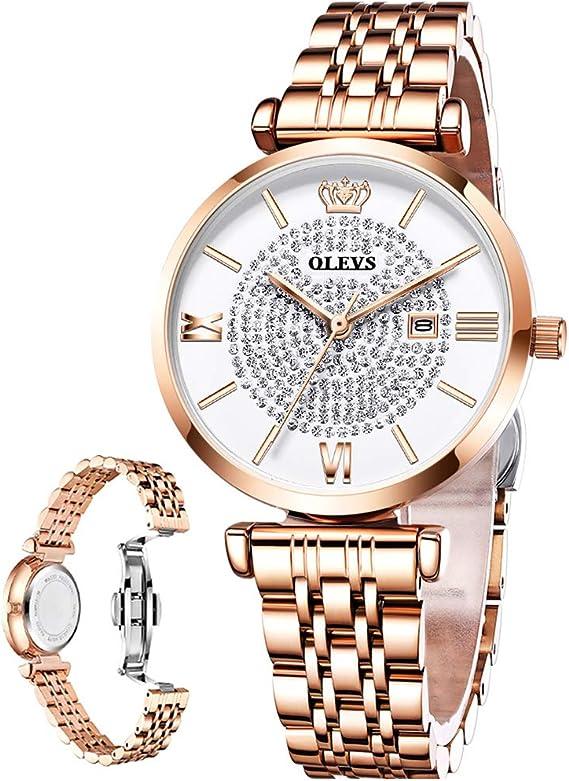 OLEVS Rose Gold Women's Watch Stainless Steel Ladies Watch with Rhinestones