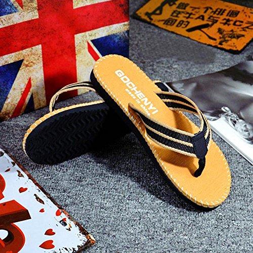 Respctful✿Men Flip Flops Lightweight Casual Thong Sandals Outdoor Anti Slip Indoor Sandals Beach Slippers Khaki by Respctful_shoes (Image #2)