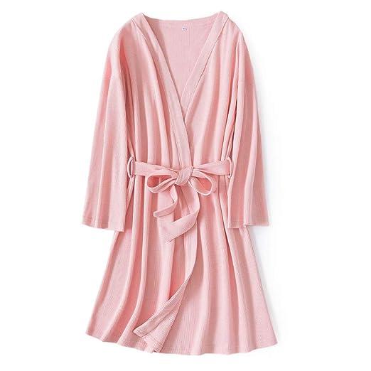 DPPAN Algodon Pijama Albornoz Kimono Mujer, Sexy Bata Cuello ...