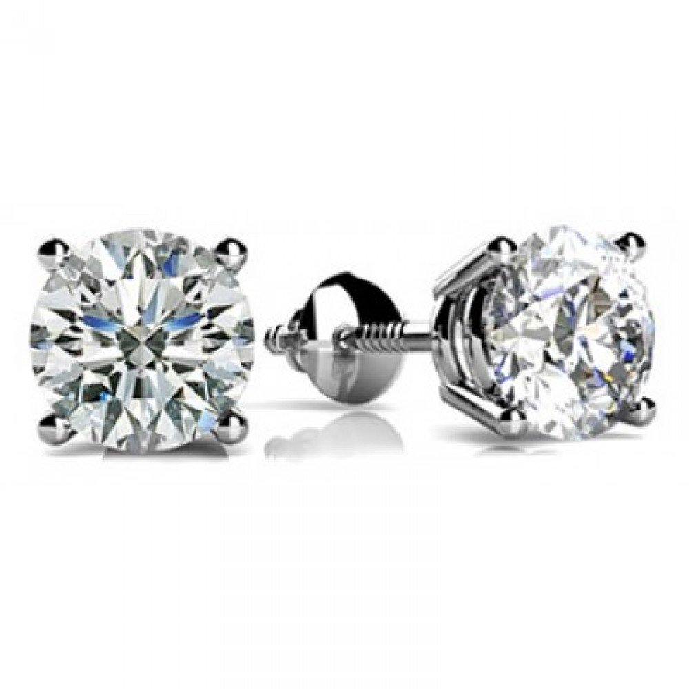 1 Carat GIA Certified Round Diamond Stud Earrings Platinum 4 Prong Screw Back H-I VS1-VS2