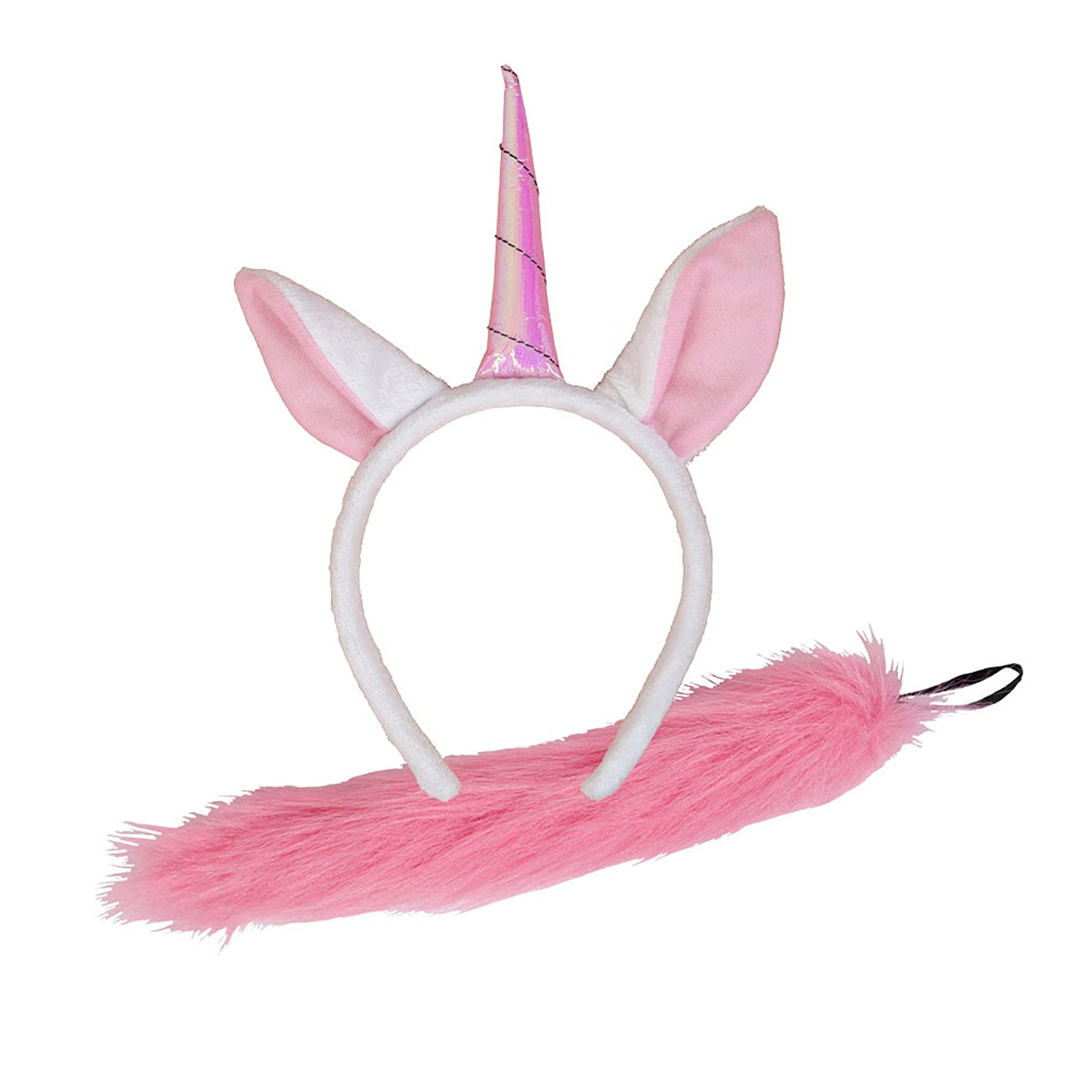 Wicked Costumes Animal Ears   Tail Set Pink Unicorn Fancy Dress Accessory  Plush Halloween  Amazon.co.uk  Toys   Games 05b8c5e7a06