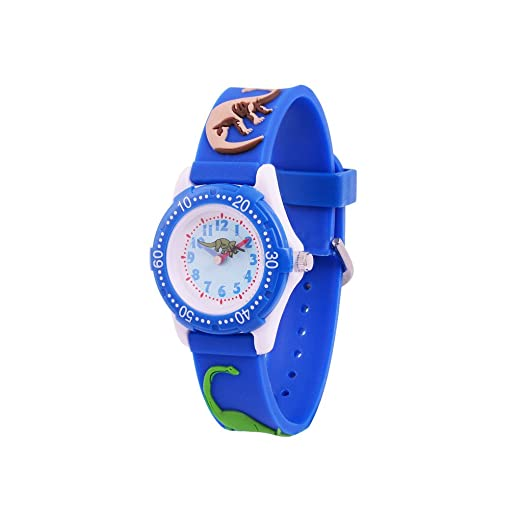 WOLFTEETH Analog Grade School Niño Niños Reloj de Pulsera con la Mano de 3D Dinosaurio Correa Dial Blanco Resistente al Agua Reloj de Pulsera de niño Azul ...