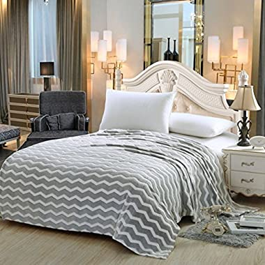 Luxurious Zigzag Modern Chevron Micro Fleece Blanket - Grey (Queen)