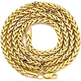"LOVEBLING 10K Yellow Gold 4mm Wheat, Palm Chain Necklace with Lobster Lock (Available in Lengths 18"", 20"", 22"", 24"", 26"" 28"", 30"") (24)"