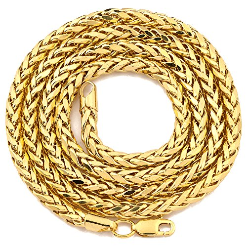 Mr. Bling 10K Yellow Gold 4mm Wheat, Palm Chain Necklace with Lobster Lock (24)