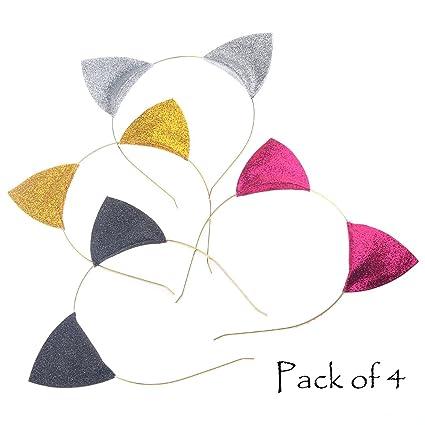 Pack de diademas de Aukmla, con forma de orejas de gato, de purpurina,