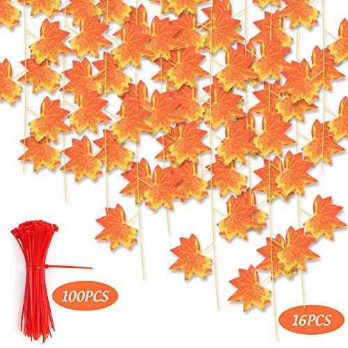 VGOODALL Künstliche Herbst Girlande, 16 STK. Eukalyptus Girlande Strähnen Künstliche Ahorn Blätter Autumn Leaves Girlande für Garten Hochzeit Party Wanddekoration