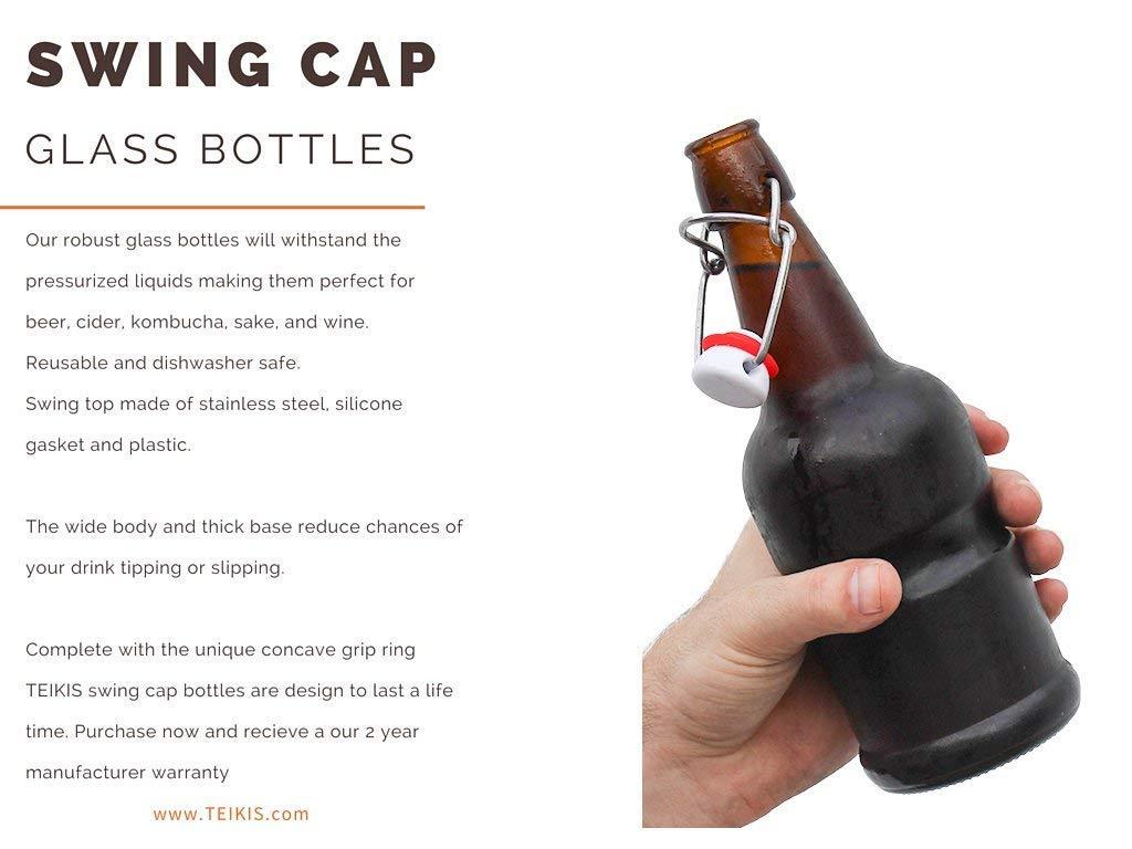 Teikis 96-Pack 16 oz Kombucha/Beer Glass Bottles Clear Leak Proof – Non Slip Style