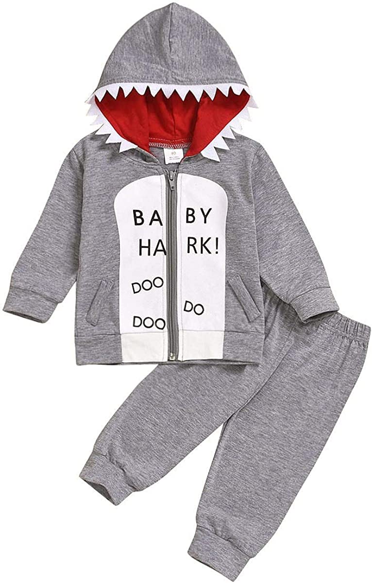 Toddler Baby Boys Shark Outfits, Kids Hooded Zip Up Sweatshirt Top + Grey Long Cotton Pants Autumn Winter Clothes Set