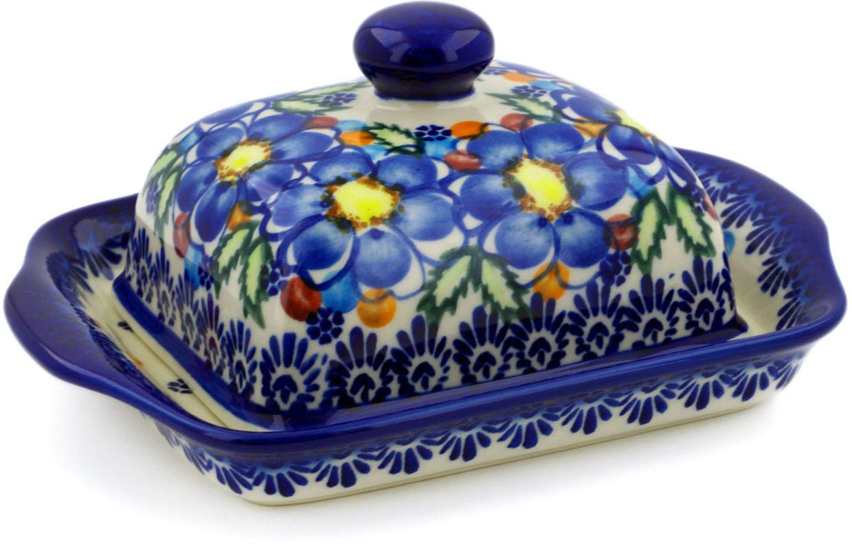 Polish Pottery 7½-inch Butter Dish (Lightbug Garden Theme) Signature UNIKAT + Certificate of Authenticity