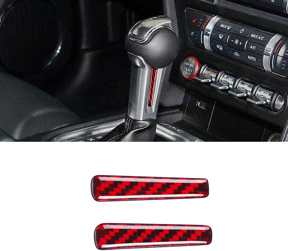 BLAKAYA Compatible with Sticker Carbon Fiber Control Handle Trim Cover Accessories for Ford Mustang 2015 2016 2017 2018 2019 2020 Red