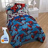 NEW! Marvel Spiderman City Graphic 4-Piece Twin Kids Bedding Comforter Set with Fabric Refresher