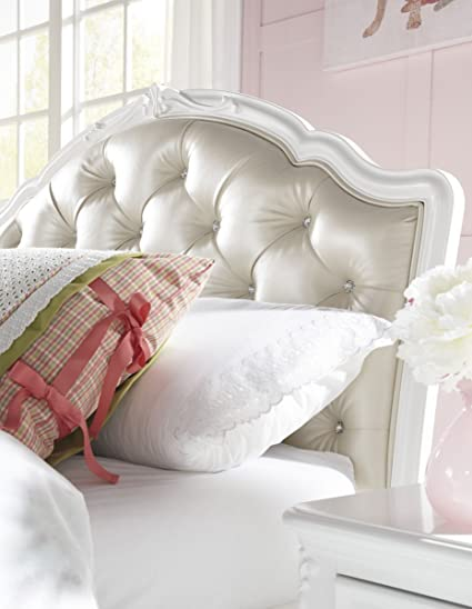 5ac1a470c57d Amazon.com  Samuel Lawrence Furniture Sweetheart Upholstered Bed in White -  Full  Kitchen   Dining