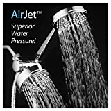 AirJet-500 3-in-1 High Pressure 34-setting Luxury Shower Combo with High-Velocity Flow Accelerator(TM) for More Power with Less Water! Extra-long 6 foot Stainless Steel Hose. All-Chrome Finish