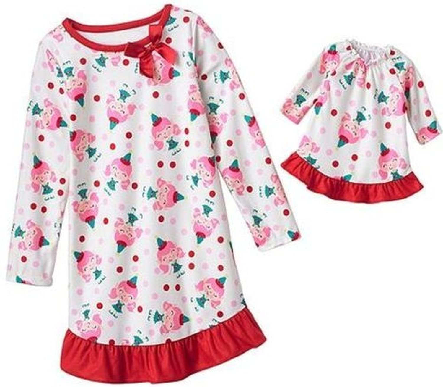 JUMPING BEANS Girl's Christmas Girl Elf Matching Doll Gown Set