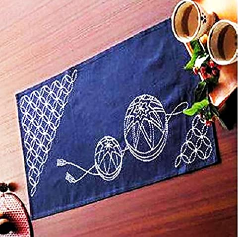 Olympus Sashiko Fabric Tablerunner Kit #261 - Temari Balls & Seven Treasures - Navy - Japanese Embroidery, Quilting, - Treasure Ball