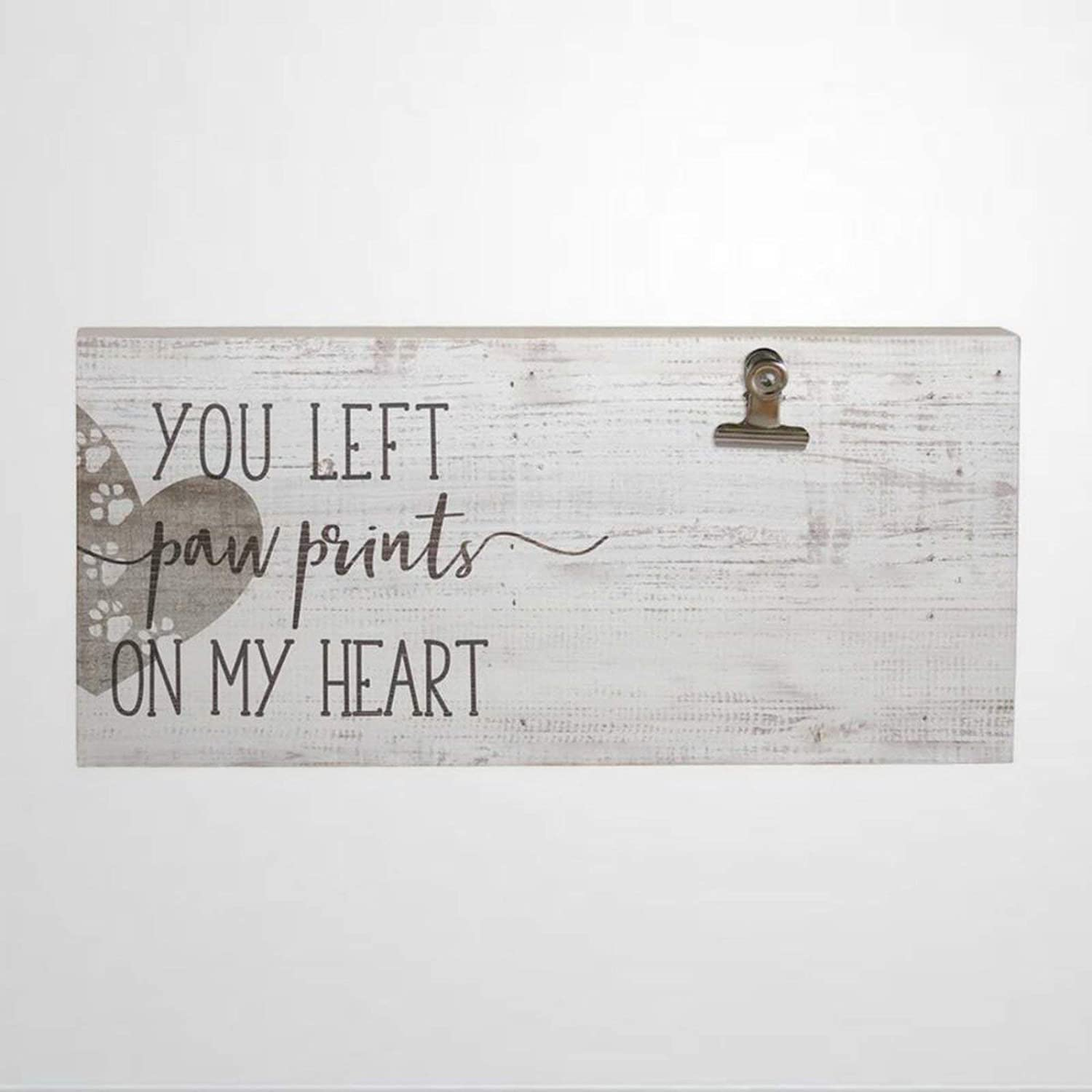 43LenaJon You Left Paw Prints On My Heart Picture Clip Wooden Sign Wood Plaque Wall Art Wall Hanger Home Decor nc058