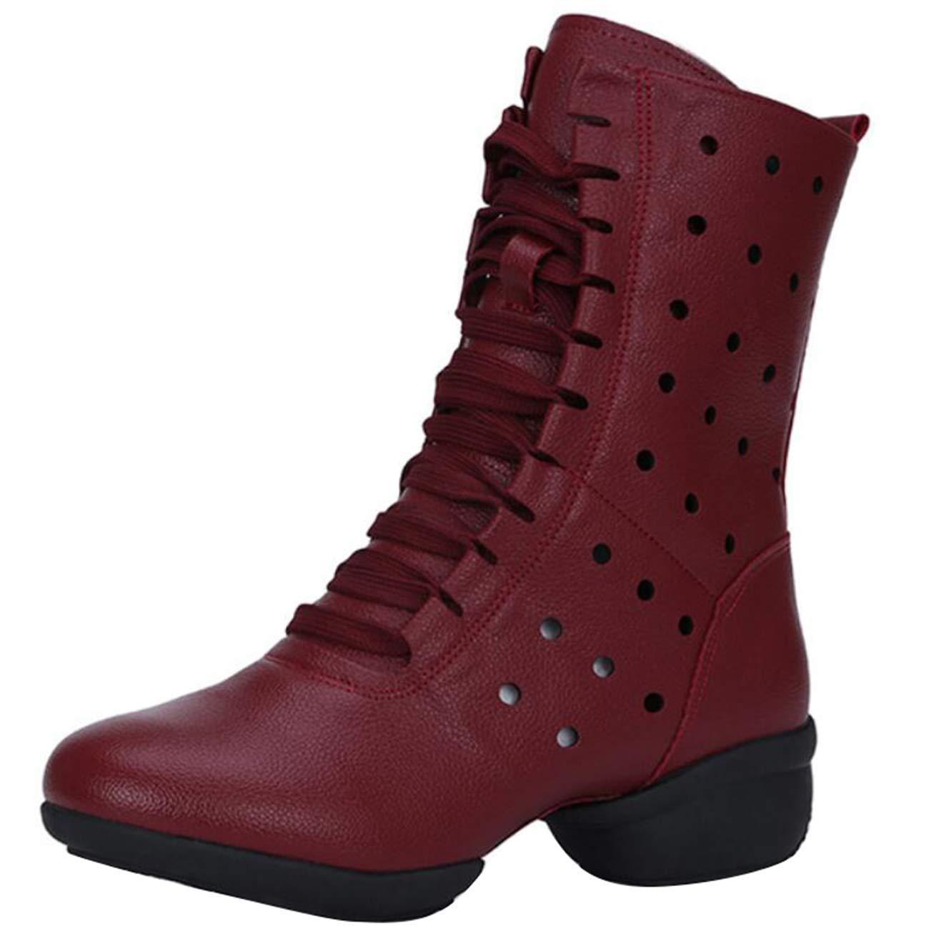 Eeayyygch Damen Schnürschuh mit Rund-Zehen-Blockabsatz-Hollow Chukka-Stiefeln (Farbe     Rot, Größe   4 UK) 8d7806