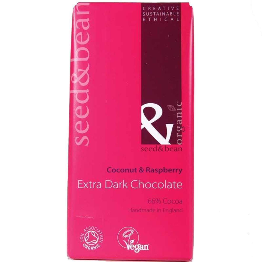 Organic Seed Raspberry & Bean Company | 66% Dark, Raspberry Seed & Coconut | 6 x 85g cdb2b3