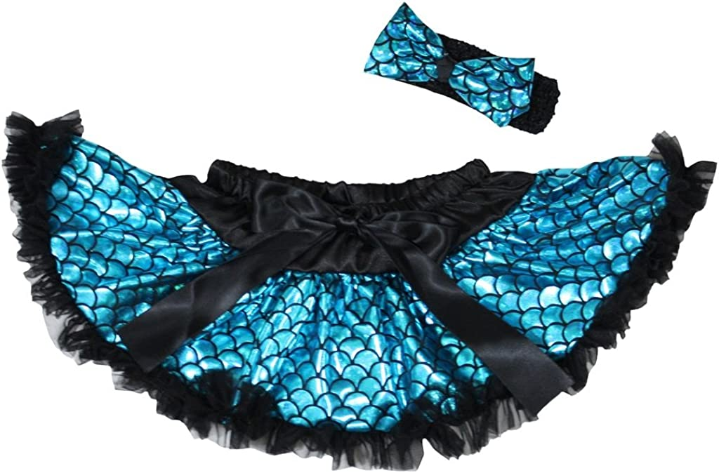 Petitebella Blue Fish Scales Mermaid Newborn Baby Pettiskirt Girl Tutu 3-12m