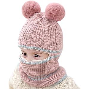 iTemer 1 Pieza Lindo otoño e Invierno de Punto Lana para niños Sombrero  Babero un frío 5bd01a8f9ad