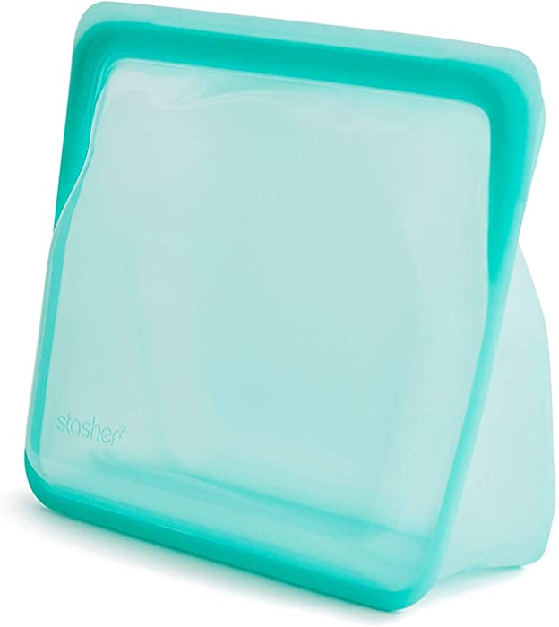 Stasher Re-Usable Food-Grade Platinum Silicone Stand Up Bag for Eating from/Cooking, Freezing and Storing in/Organising/Travelling, 17.80 x 20.30 cm/1.65 Litre/56 Fluid Ounces, Aqua