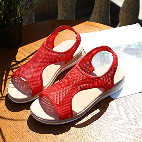 huichang New Women Breathable Flat Heel Anti Skidding Beach Shoes Rome Sandals Red GV3V1