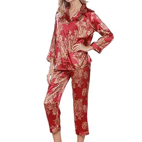 Hzjundasi Señoras Satín Seda Conjunto de pijamas Mangas largas Ropa de noche Sleepwear 2 piezas Floral Geometric Turndown Collar Cuello en V Botón Mujer ...